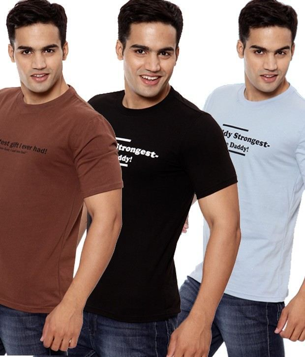 Fundoo-T Brown-Black-Sky Blue Pack of 3 Cotton T-Shirts