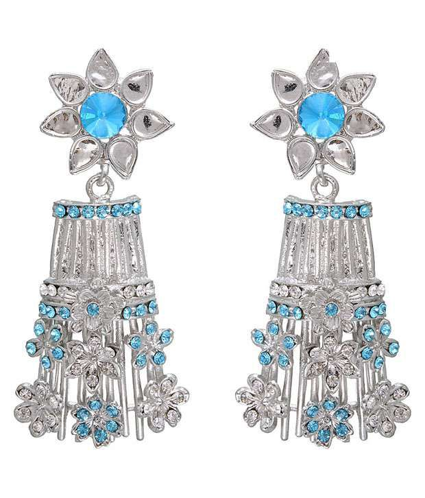 Kriaa Silver & Blue Floral Cluster Earrings