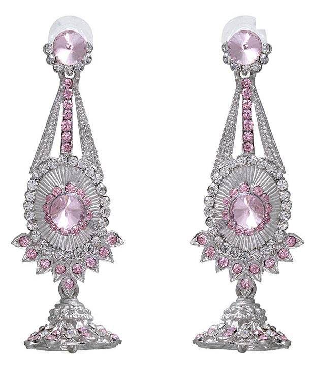 Kriaa Silver & Pink Oval Centre Earrings