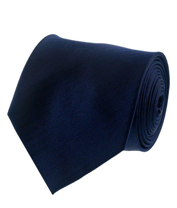 Van Heusen Navy Blue Zigzag Patterned Necktie