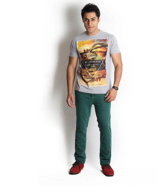 Globus Cool Grey Melange Printed T-Shirt
