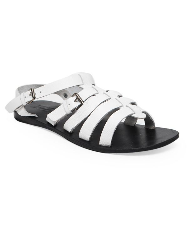 569c38d6ee65 Estd. 1977 White Leather Sandals Price in India- Buy Estd. 1977 White  Leather Sandals Online at Snapdeal