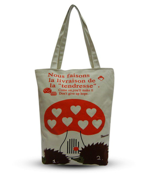 A-Maze White & Red Heart Printed Tote Bag