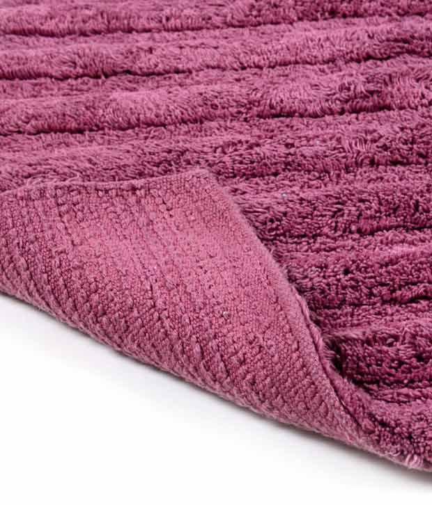 HomeFurry Purple H  amp; V Stripes Bath Mat
