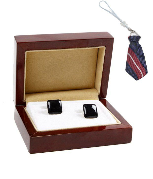 John Ledlie Black Enamel Finish Cufflinks With Free Mobile Dangler
