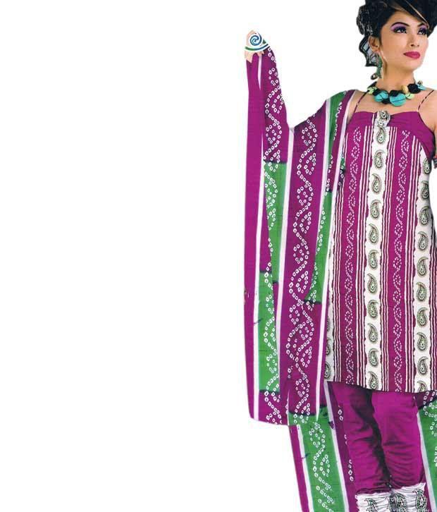 Khazana Pink Cotton Unstitched Dress Material