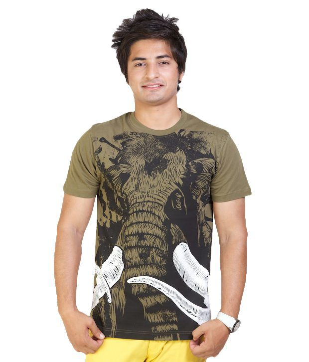Monarch Classy Olive Printed T Shirt