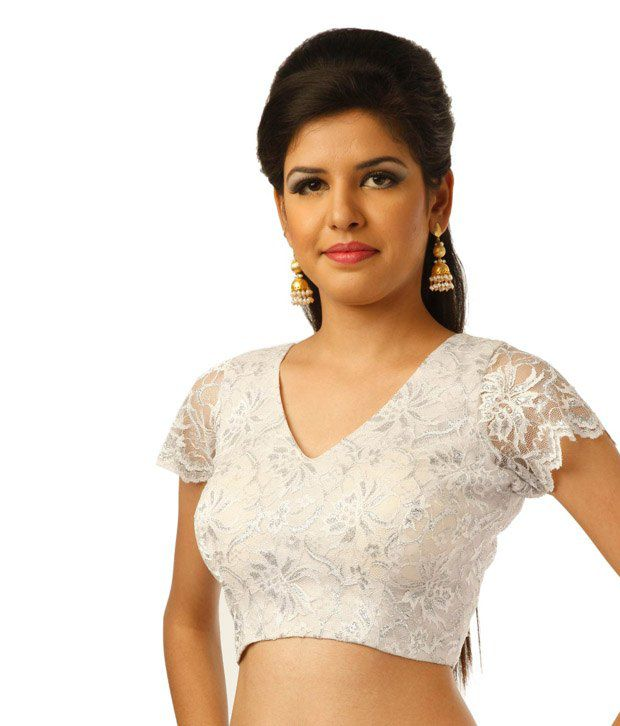 9rasa White Short Sleeves Lace Crochet Stitched Saree Blouse