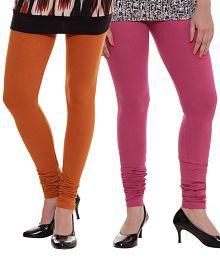 Rham Pink-Orange Leggings Combo Of 2