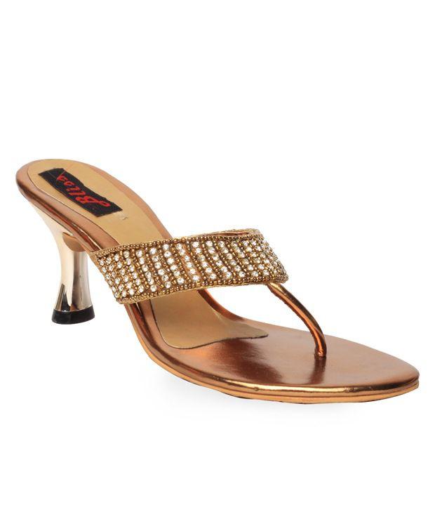 Bliss Antique Golden Slip-on Heels