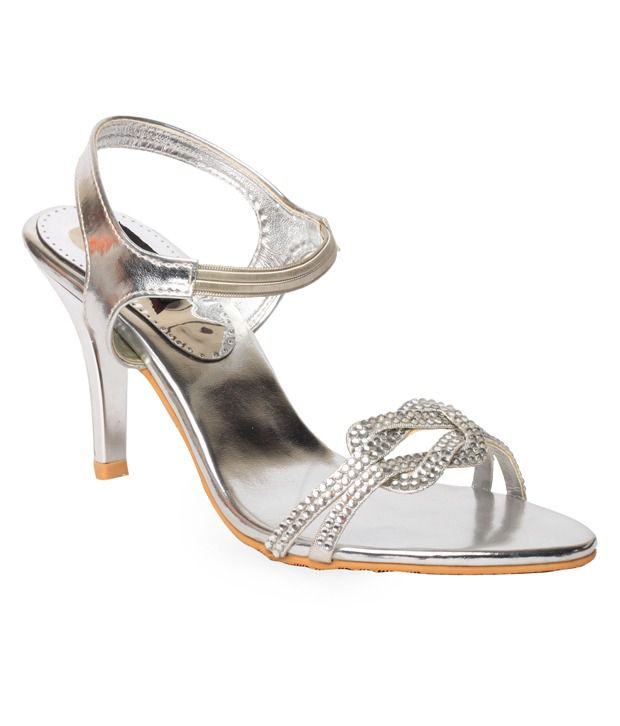 Bliss Engaging Silver Pencil Heel Sandals