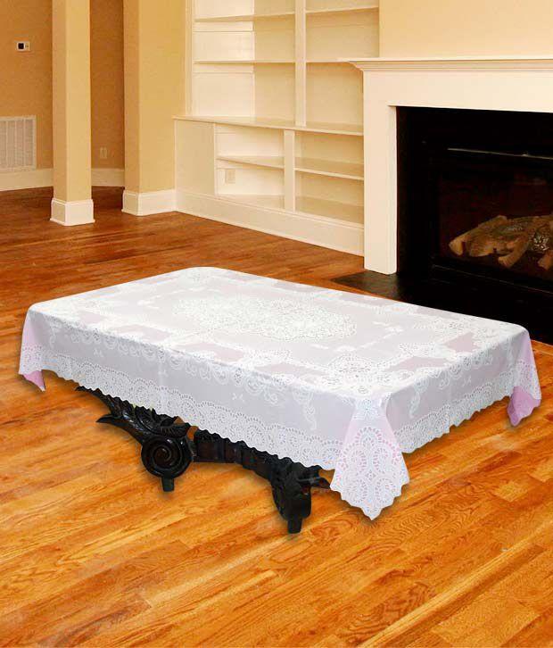 Katwa Clasic - 36 x 54 Inch Lace Vinyl Tablecloth Fancy Design (Pink)