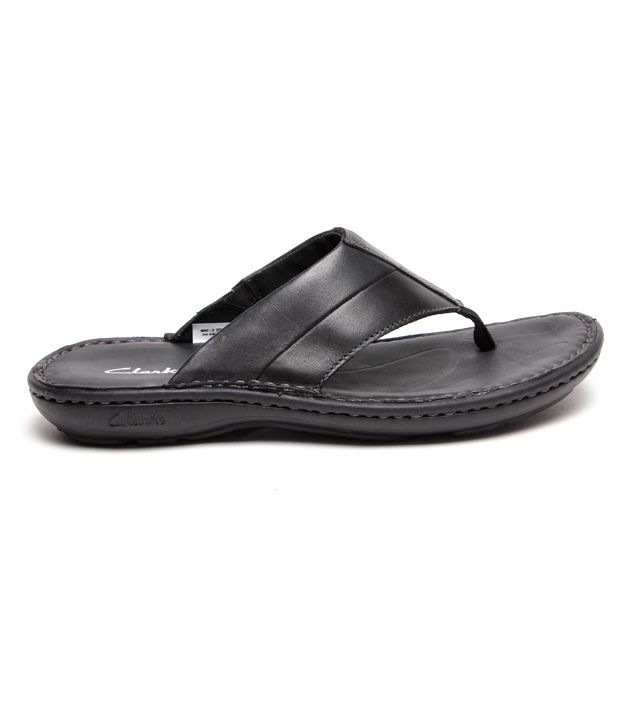7dbd89a7d608 Clarks Villa Beach Black Leather Slippers Clarks Villa Beach Black Leather  Slippers ...