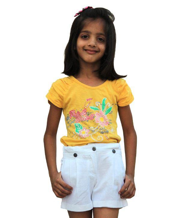 Shoppertree Cotton White Shorts For Kids