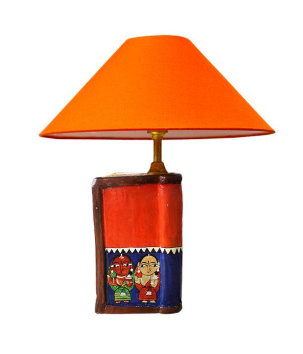 Exclusivelane Orange Hand Painted Book Lamp Buy