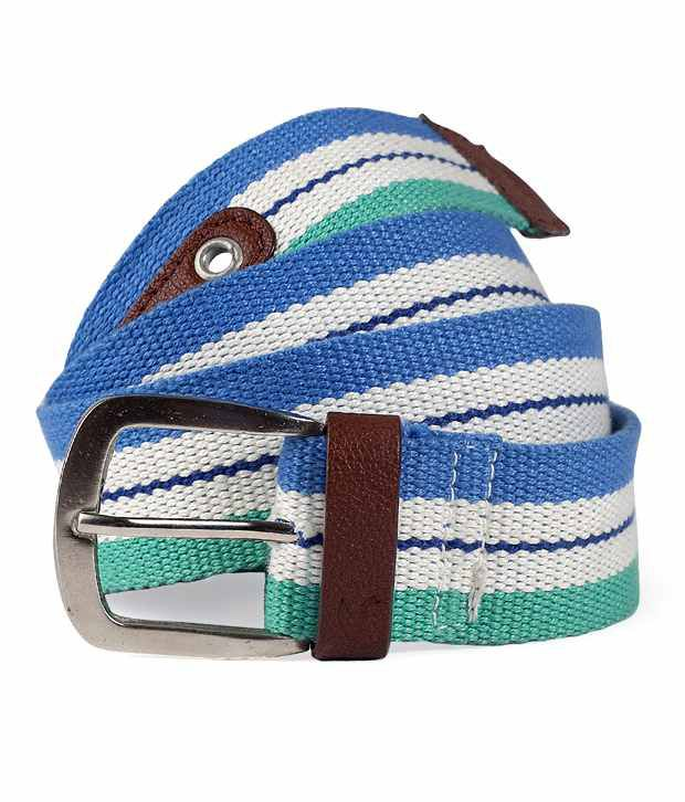 American Swan Blue & Green Striped Belt
