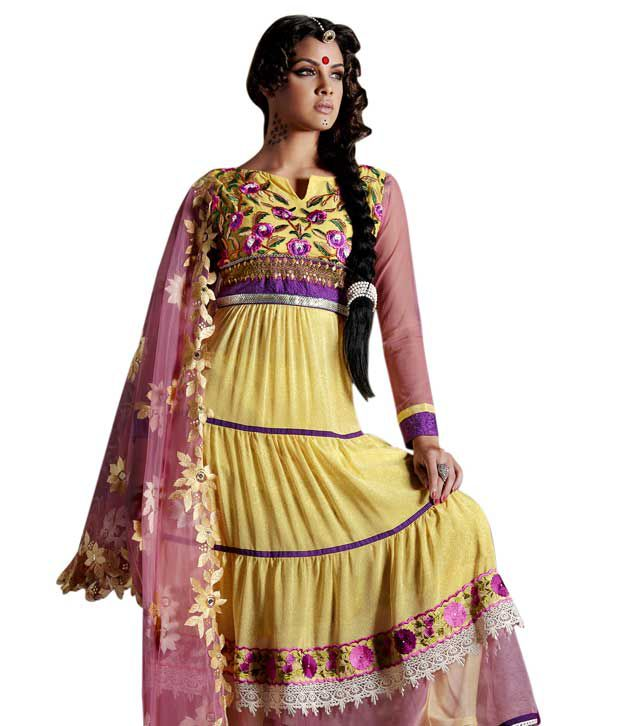 Adah Fashions Yellow Cotton Unstitched Dress Material