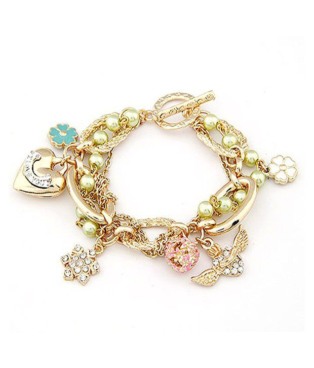 Scrunchh Light Green Beads and Charms Bracelet