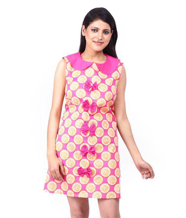 AahIntimates Orange-Pink Printed Cotton Nighty