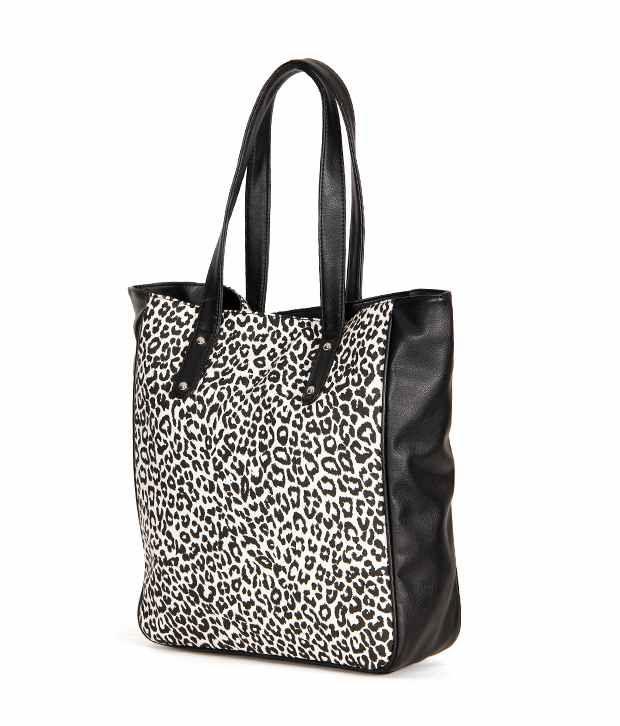 Bag Belivata Black White Leopard Print Shoulder