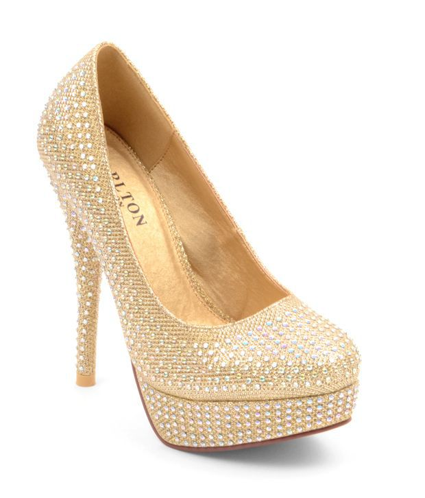 Carlton London Fab Golden Pencil Heel Pumps
