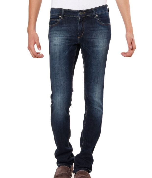 TNG Teal Green Faded Slim Fit Jeans