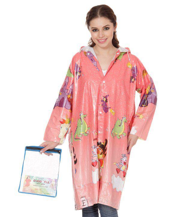 Monsuun Peach Long Girls Raincoat