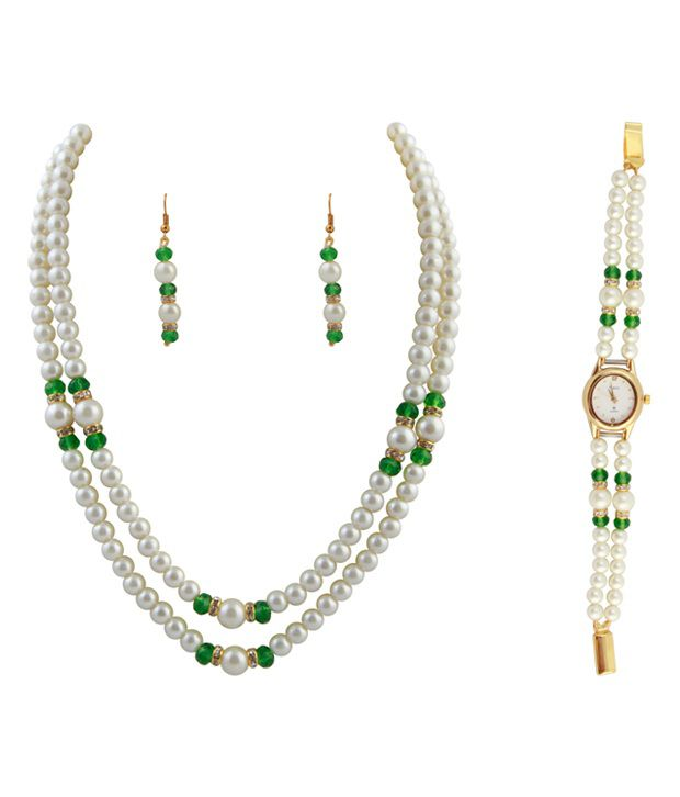 Raaga Pearl 2 Stringed White & Elegant Green Necklace & Set with Watch Combo