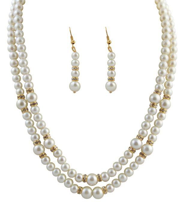 Raaga 2 Stringed Pearl White Necklace & Set