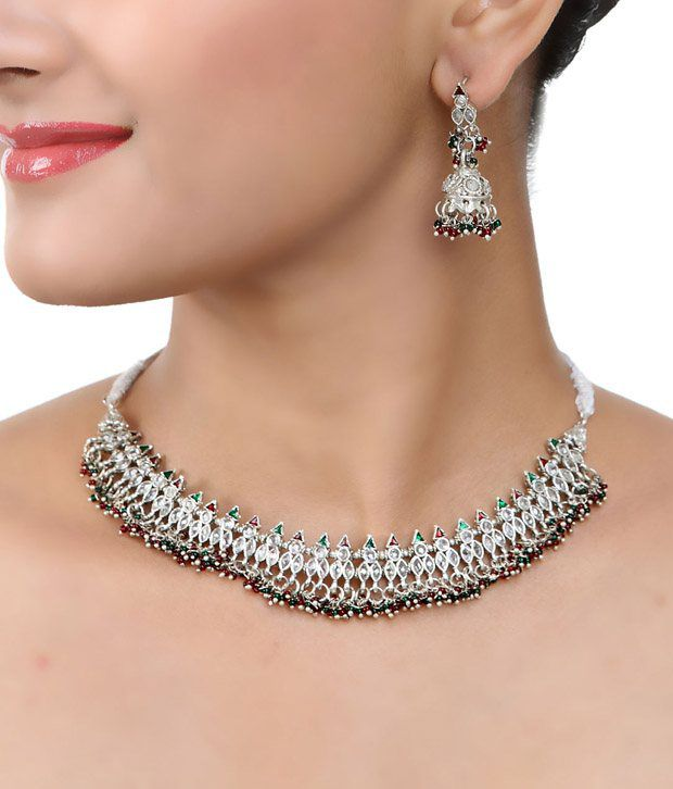 Aradhyaa Jewel Arts Festive Silver   Choker Necklace
