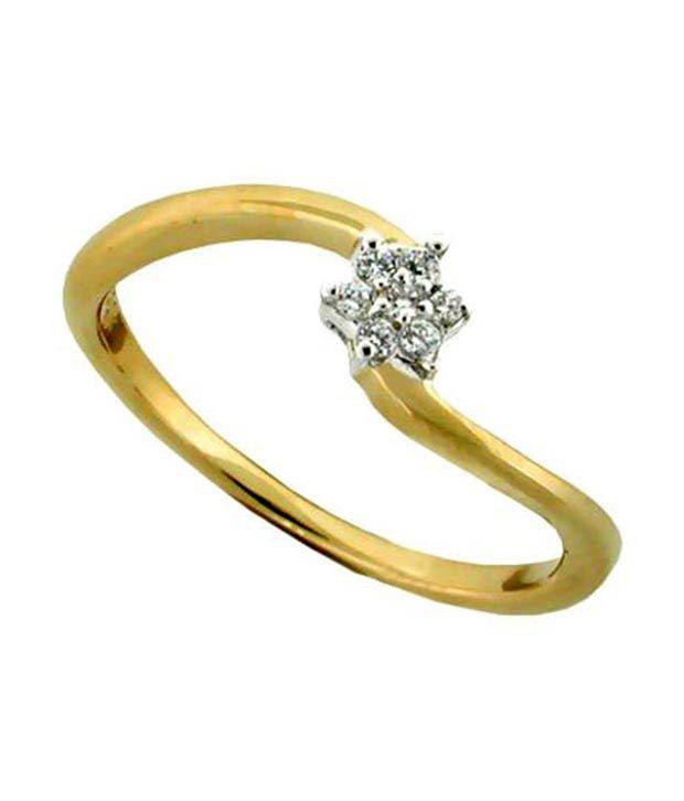 Avsar 18kt Gold 0.12 Ct. Diamond Flower Charm Ring