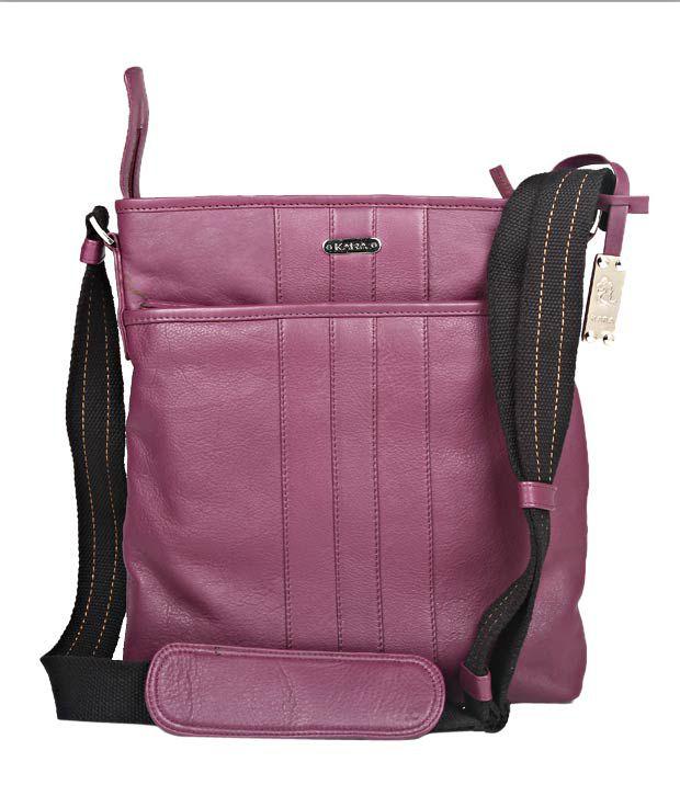 Kara Bicardi Purple Textured Finish Sling Bag