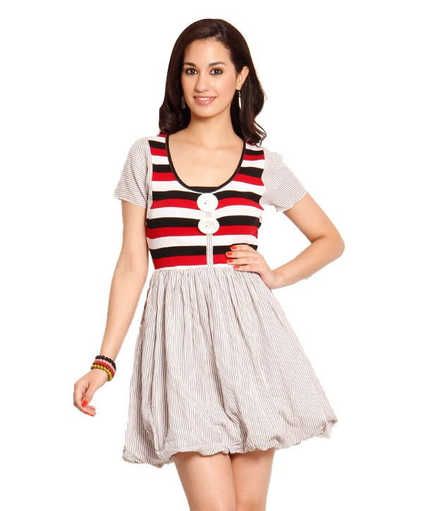 Belle Fille Red-White Cotton Dress
