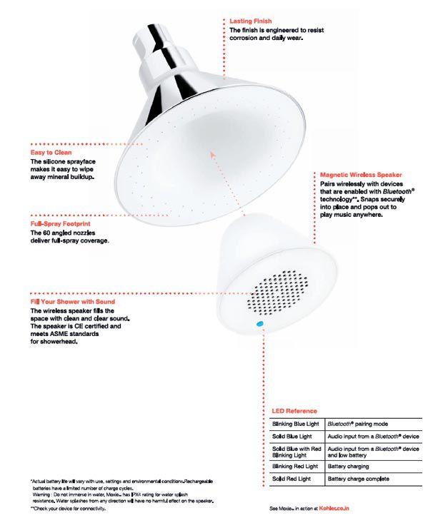 kohler moxie showerhead wireless speaker