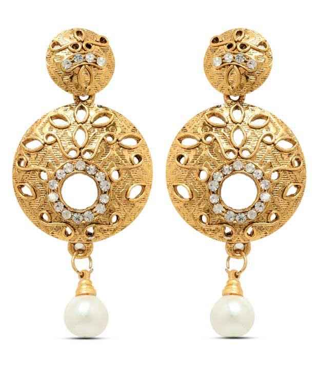 Sia Openwork Circular White Drop Earrings