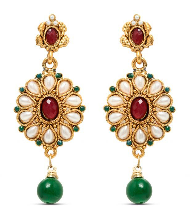 Sia Floral Dazzle Green Drop Earrings