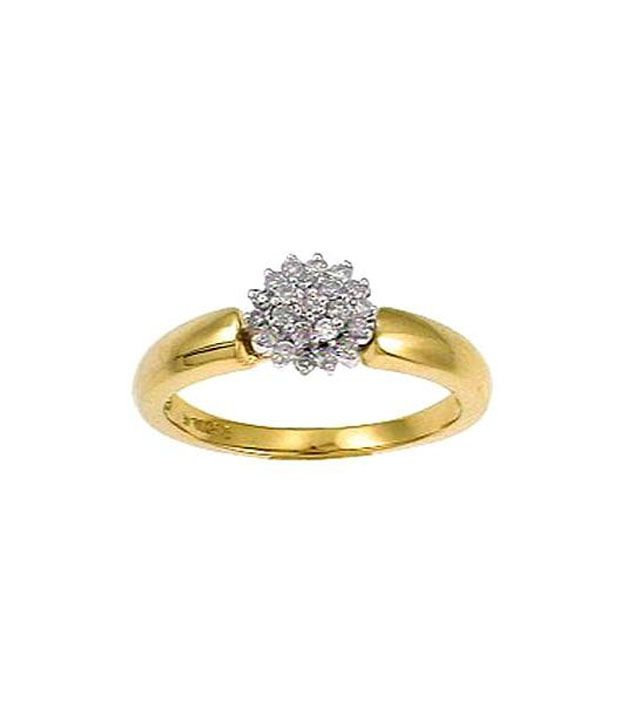 Bling 18kt Gold 0.27 Ct. Diamond Floral Ring