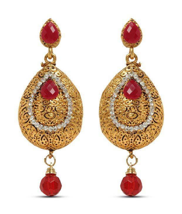 Sia Golden Pear Shaped Red Drop Earrings