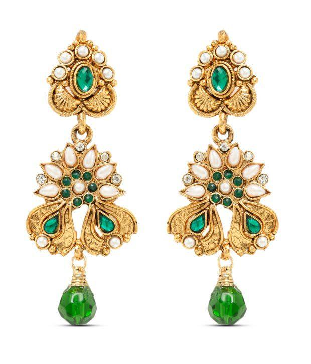 Sia Floral Rays Green Drop Earrings