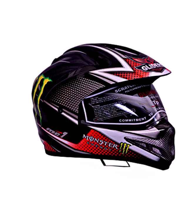 8da6922d Gliders- Full Face Motocross Helmet With Visor-MC-1 Black & Red - Size L  (580 mm): Buy Gliders- Full Face Motocross Helmet With Visor-MC-1 Black &  Red ...