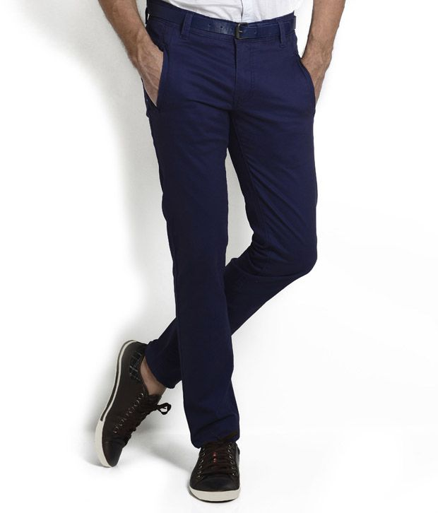 Teemper Navy Front Vertical Welt Pocket Trouser