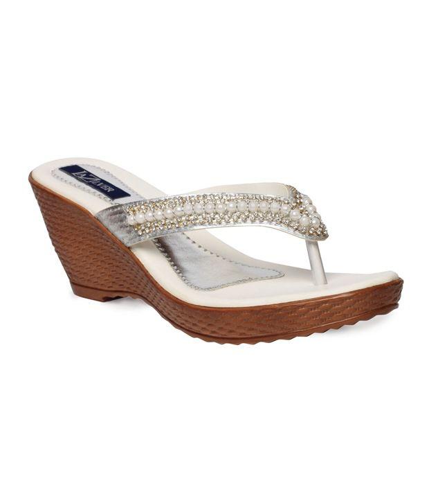 La Zilver Compelling White Slip-on Heels