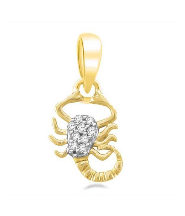 Sparkles 0.04ct. Diamond & 18kt Gold Scorpio Zodiac Pendant