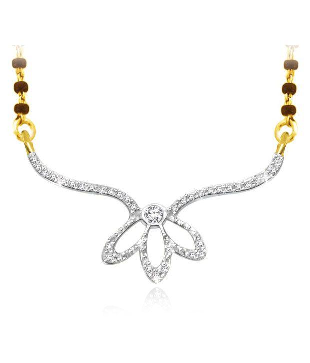 Sparkles 0.07ct. Diamond & 18kt Gold Leafy Mangalsutra