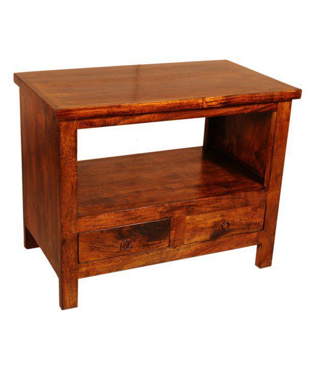 Sheesham Wood Side Table With Undershelf