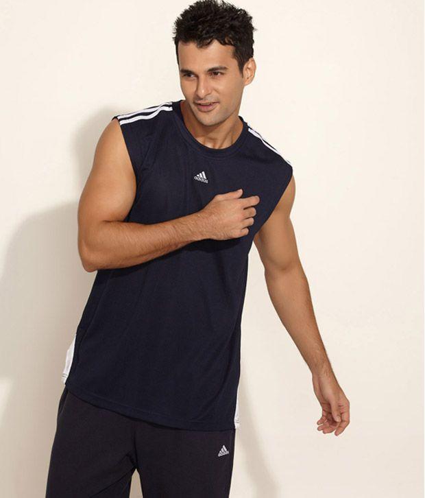 Adidas Dark Blue Sleeveless Basketball T-Shirt