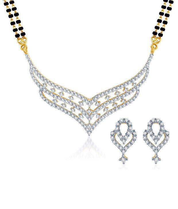 Sukkhi Royal Gold & Rhodium Plated CZ Mangalsutra Set (Mangalsutra Mala may vary from the actual image)