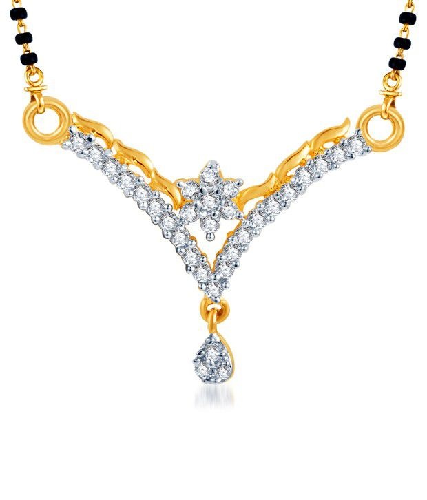 Sukkhi Floral Charm Gold & Rhodium Plated CZ Mangalsutra (Mangalsutra Mala may vary from the actual image)