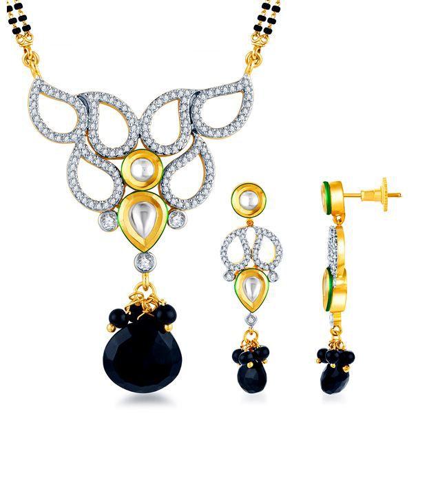 Sukkhi Alluring Bead Drop Kundan & CZ Mangalsutra Set (Mangalsutra Mala may vary from the actual image)