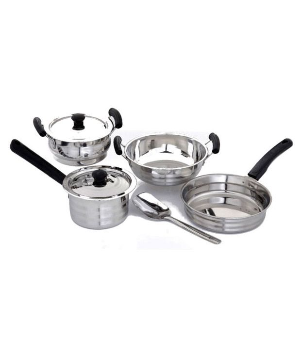 mahavir 7pc induction lpg compatible cookware set buy online at best price in india snapdeal. Black Bedroom Furniture Sets. Home Design Ideas